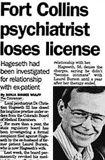 Dr. Christian Hageseth III loses license after relationship with ex-patient who's now his wife.
