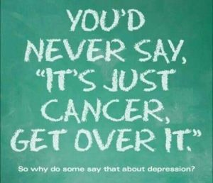 'Get over it' isn't useful advice, ever. Telling someone with a mental illness to 'get over it' is as helpful as saying it to a cancer patient. Read this.